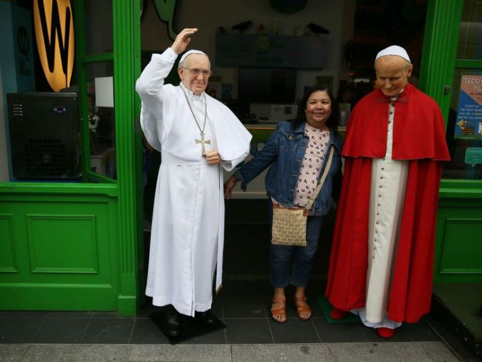 The Pope is due to begin a two-day visit to Ireland  Popemobile returns to Dublin ahead of Pope Francis visit to Ireland skynews popemobile waxwork 4398786