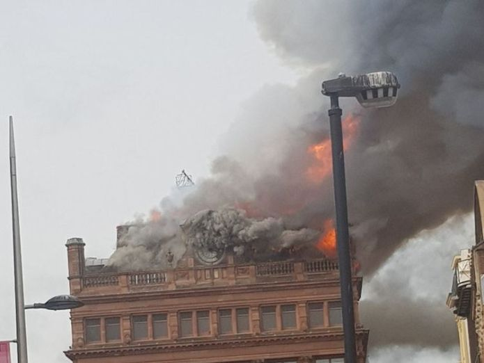Primark confirmed that the store was evacuated. Pic: Emmet McEvoy  Primark evacuated after 'devastating' fire at Belfast store skynews primark belfast fire 4403557