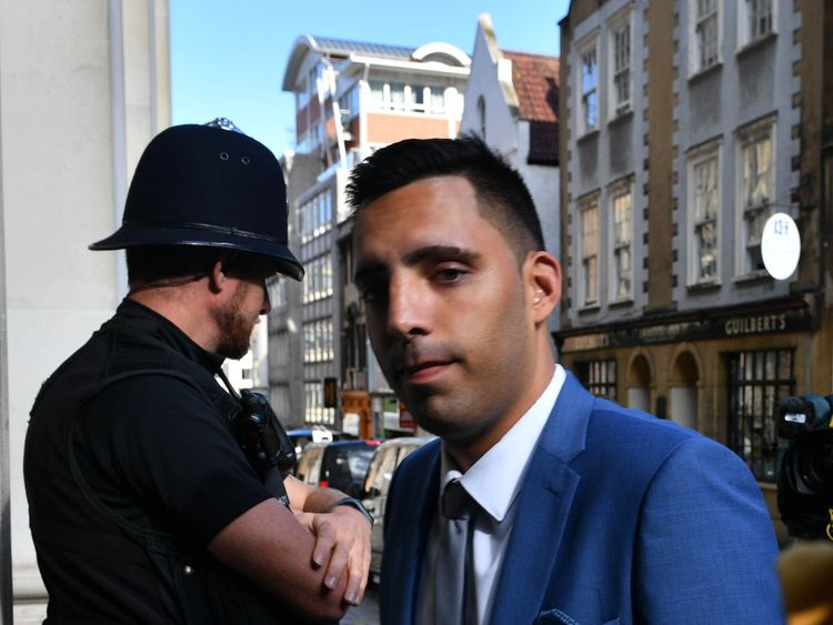 Ryan Ali arrives at Bristol Crown Court accused of affray