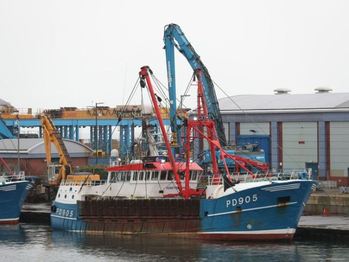 The Honeybourne 3 (right), a Scottish scallop dredger, in dock at Shoreham, West Sussex, following clashes with French fishermen   May calls for 'amicable solution' to scallops row after French fishermen 'attack' skynews scottish scallop dredger 4404497