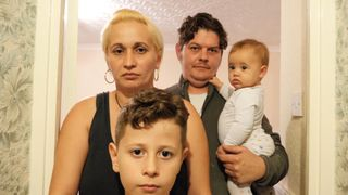 The Tudoroiu family in their £600 shared room in London.  How the UK is facing five housing crises at once skynews housing crisis family 4427732