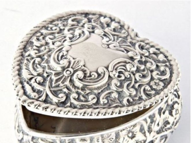 A heart-shaped silver box containing a man's ashes that was stolen