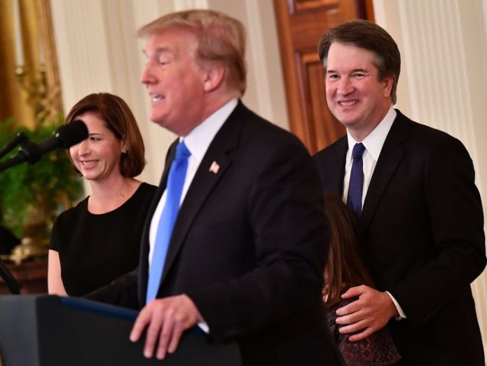 Mr Kavanaugh is Donald Trump's pick for the Supreme Court   Brett Kavanaugh willing to 'refute' sexual assault allegation before Senate panel skynews brett kavanaugh donald trump 4424442