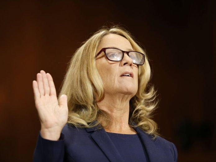 Professor Christine Blasey Ford is sworn in to testify before a Senate Judiciary Committee confirmation hearing for Kavanaugh  Read Christine Blasey Ford's own words for yourself skynews christine blasey ford 4435387