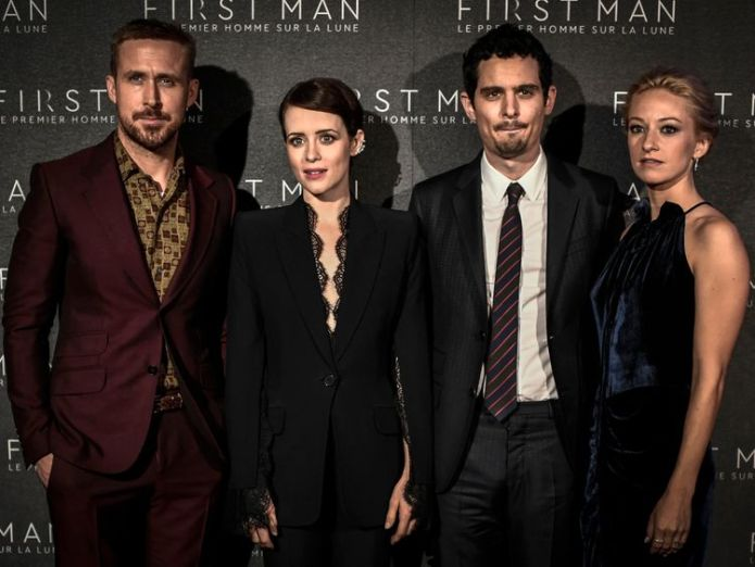 First Man stars Ryan Gosling and Claire Foy with director Damien Chazelle   Director Damien Chazelle 'surprised' at Donald Trump's criticism of Neil Armstrong biopic skynews first man ryan gosling 4436990