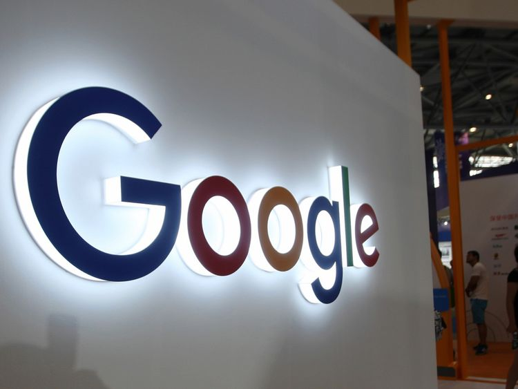 This photo taken on August 23, 2018 shows the Google logo on display at the Smart China Expo at Chongqing International Expo Center in southwest China's Chongqing. (Photo by STR / AFP) / China OUT (Photo credit should read STR/AFP/Getty Images)