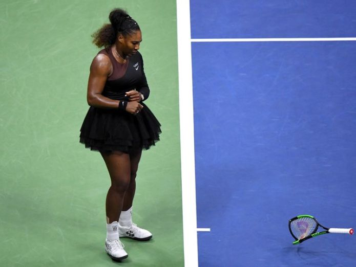 Williams smashed her racket on the court giving her a second violation  Serena Williams breaks silence on umpire sexism row in US Open final skynews serena williams serena 4416180