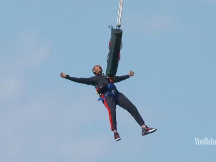 Will Smith did the jump for his 50th birthday  Will Smith celebrates 50th birthday with daring bungee jump out of helicopter skynews will smith bungee jumping 4433671