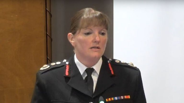 London Fire Brigade Commissioner Dany Cotton giving evidence at the Grenfell Tower inquiry in Holborn