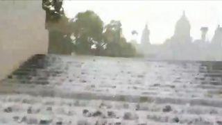 Heavy rain brings flooding to Barcelona