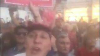 Cesar Sayoc chants at Trump valley