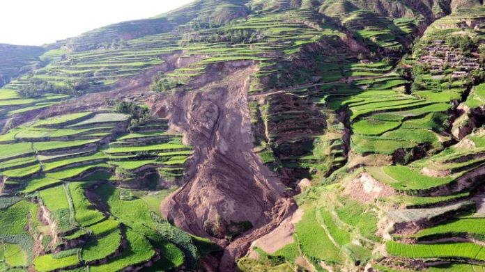 An example of liquefaction causing a landslip during a 6.6 earthquake in China in 2013  Why the ground turns to liquid in an earthquake skynews china earthquake liquefaction 4440461