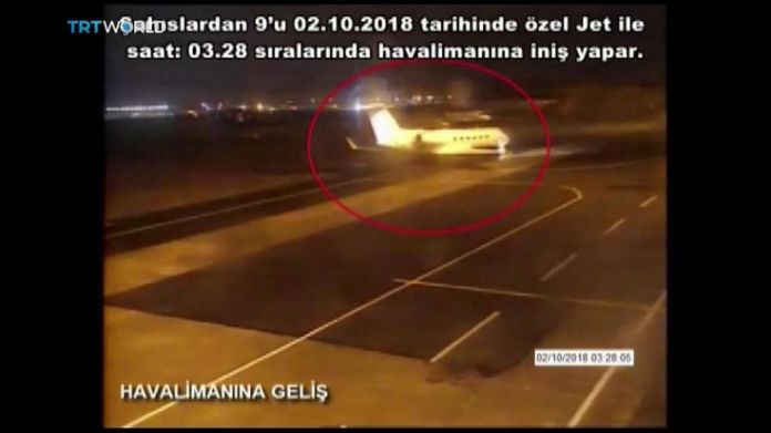 CCTV footage of private jet carrying nine Saudis said to be linked to Jamal Khashoggi's disappearance  15-man Saudi 'hit squad' pictured on day journalist disappeared skynews jamal khashoggi saudi consulate 4448810