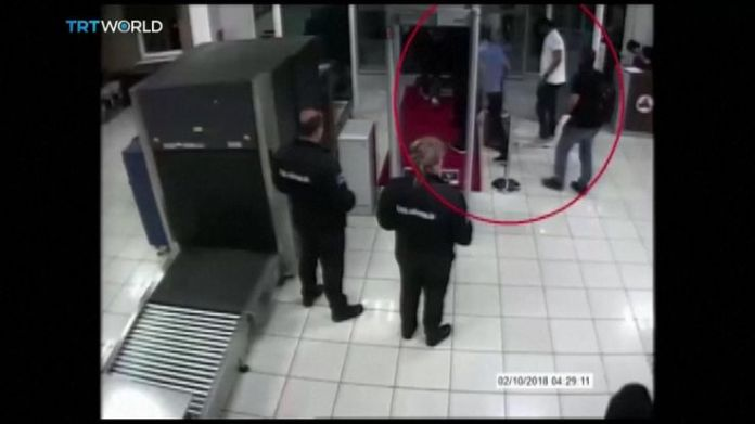 Saudis linked to Jamal Khashoggi disappearance passing through security checkpoint at Istanbul airport  15-man Saudi 'hit squad' pictured on day journalist disappeared skynews jamal khashoggi saudi consulate 4448827