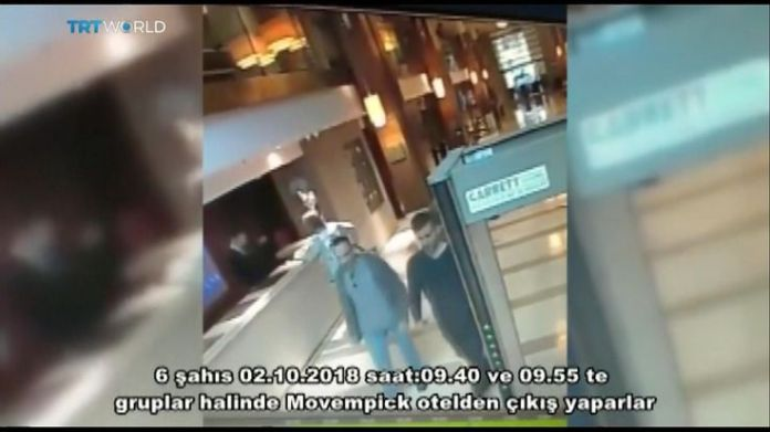 Saudis linked to Jamal Khashoggi disappearance leave hotel  15-man Saudi 'hit squad' pictured on day journalist disappeared skynews jamal khashoggi saudi consulate 4448841
