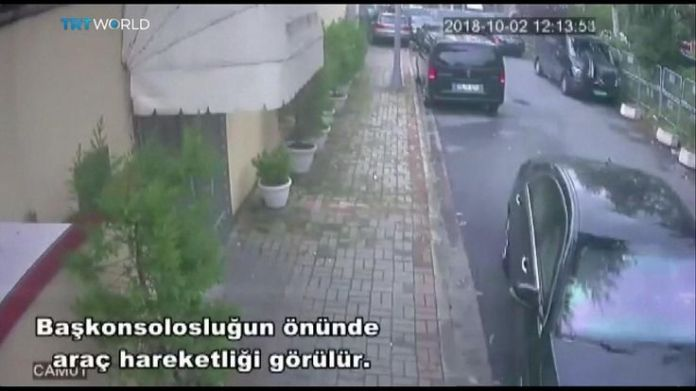 Vans and vehicles leave the Saudi consulate in Istanbul  15-man Saudi 'hit squad' pictured on day journalist disappeared skynews jamal khashoggi saudi consulate 4449006