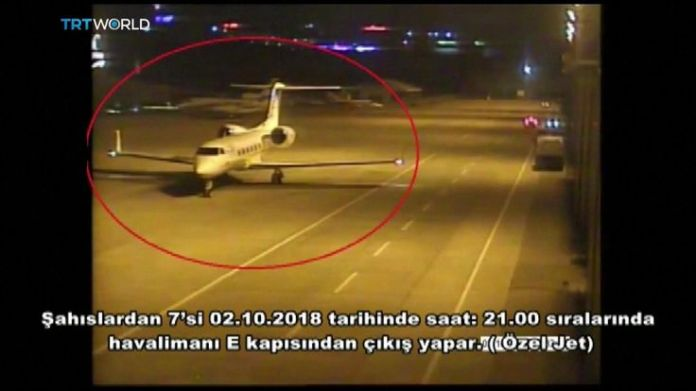Private jet carries Saudis from Istanbul airport  15-man Saudi 'hit squad' pictured on day journalist disappeared skynews jamal khashoggi saudi consulate 4449028