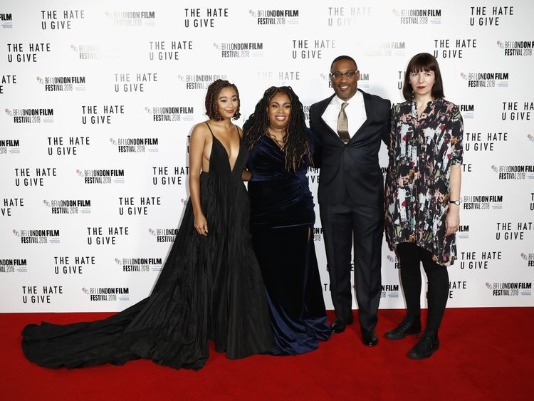 The Hate U Give - Amandla Stenberg, Angie Thomas, George Tillman Jr and Kate Taylor attend the European premiere