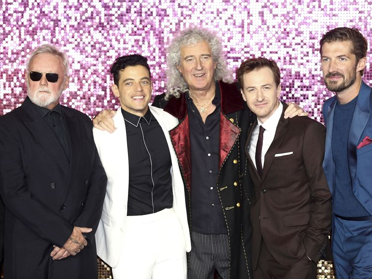 Roger Taylor, Malek, Brian May, Joe Mazzello and Gwilym Lee attend the world premiere of Bohemian Rhapsody