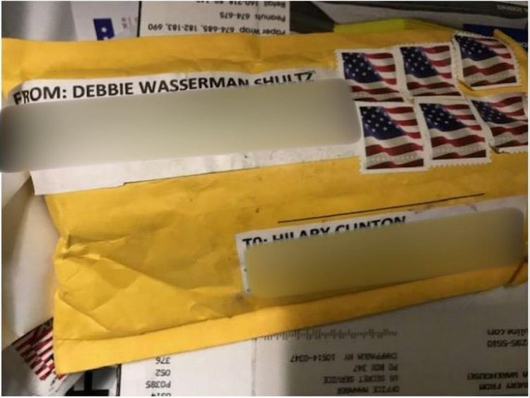 The package sent to Hillary Clinton. Pic: ABC News