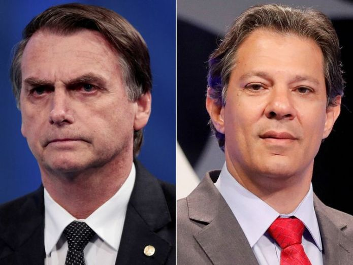Jair Bolsonaro (L) outperformed Fernando Haddad  in the first round   Brazil's far-right candidate Jair Bolsonaro storms presidential election round skynews fernando haddad jair bolsonaro 4447054