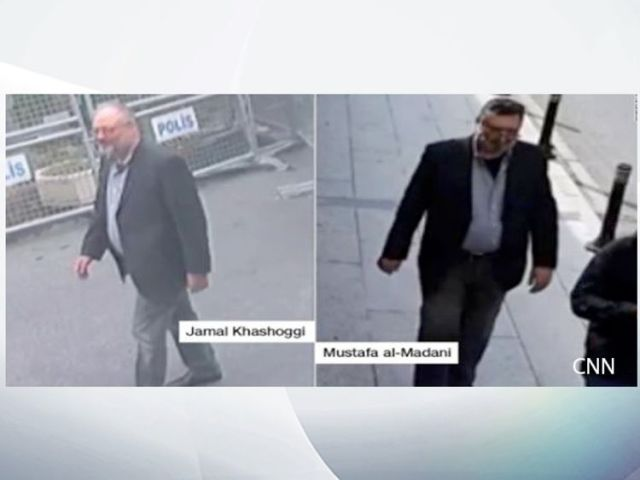 Jamal Khashoggi and his 'body double'. Pic: CNN