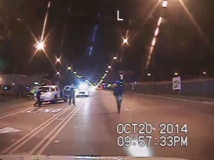 This image from a police dash camera was frozen moments before Jason Van Dyke opened fire  White policeman Jason Van Dyke who shot black teen Laquan McDonald in Chicago skynews laquan mcdonald chicago 4444476