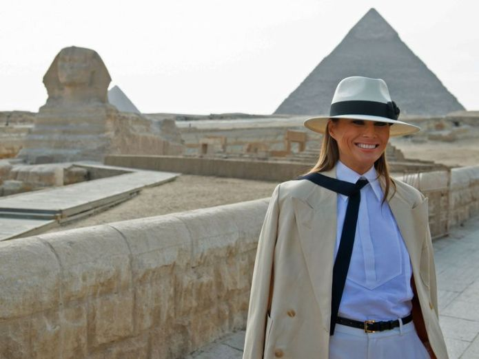 US First Lady Melania Trump visits the Giza pyramids and the Sphinx  I don't always agree with my husband, and I tell him so skynews melania trump egpyt 4445196