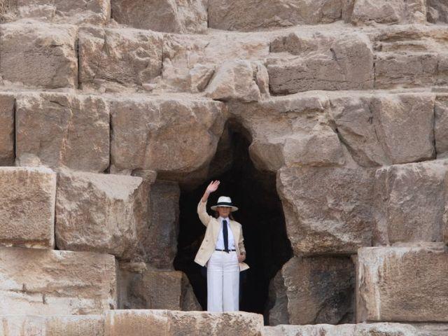 Melania Trump at the entrance to Egypt's Great Pyramid of Khufu at Giza