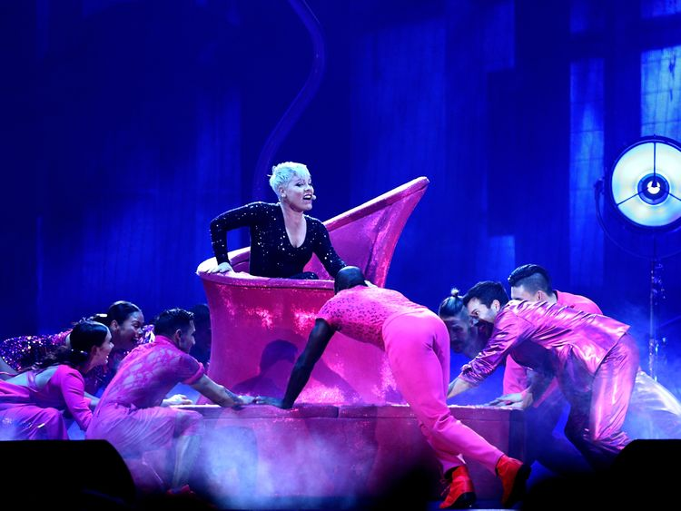 Singer Pink performs live on stage in New Zealand for Beautiful Trauma tour