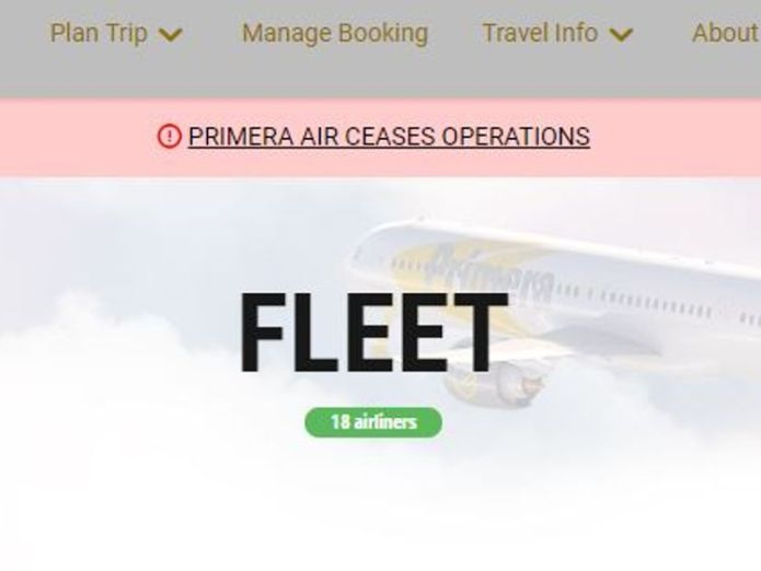 Primera Air annouces end of operations on website  Aircraft seized and passengers warned as low-cost airline Primera Air ceases operations skynews primera air bankrupt 4440187