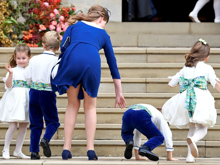 Princess Charlotte of Cambridge arrives with bridesmaids and pageboys for the royal wedding