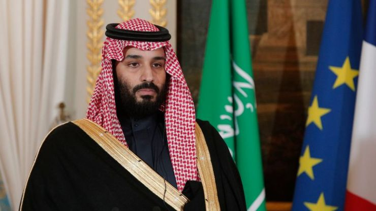 Saudi Arabia's Crown Prince Mohammed bin Salman gives a joint press conference with France's President at the Elysee Palace in Paris on April 10, 2018