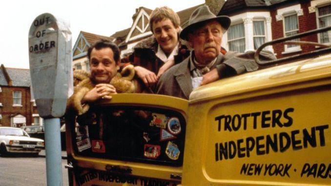 David Jason, Nicholas Lyndhurst and Lennard Pearce as Del Boy, Rodney and Grandad in Only Fools And Horses