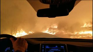 Dramatic footage of family driving through wind driven fire in Paradise, California as thousands of people are urged to flee.  Flames race towards city reeling from mass shooting skynews wildfire paradise california 4482101