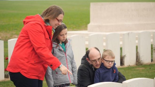 Sky News grabs of WW1 memorial in france