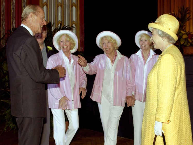 Beverley Sisters with the Queen and Prince Philip