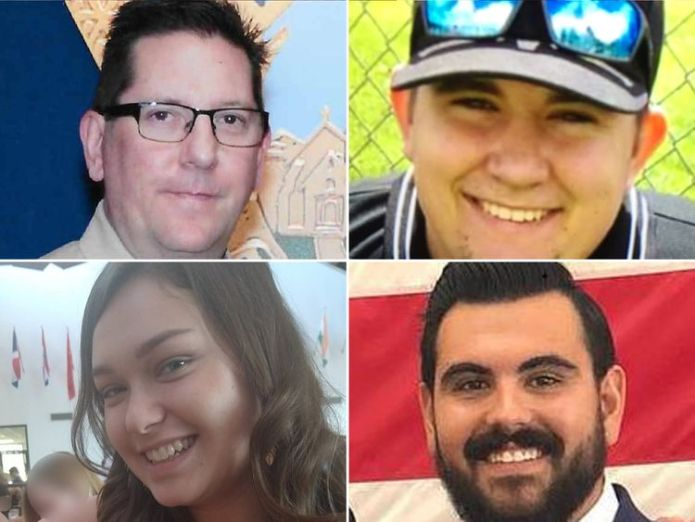 Victims (clockwise from top left): Sergeant Ron Helus, Cody Coffman, Justin Meek and Alaina Housley  Thousand Oaks massacre survivor's anger skynews california shooting 4481077