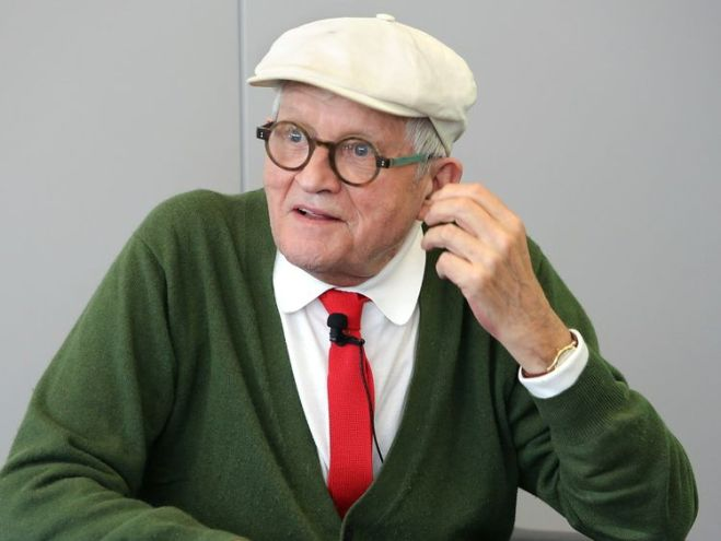 David Hockney arrives to the opening press conference of the 2016 Frankfurt Book Fair