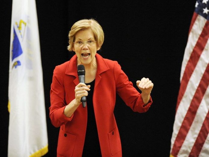 Potential presidential candidate Senator Elizabeth Warren addresses a meeting in Roxbury, Massachusetts