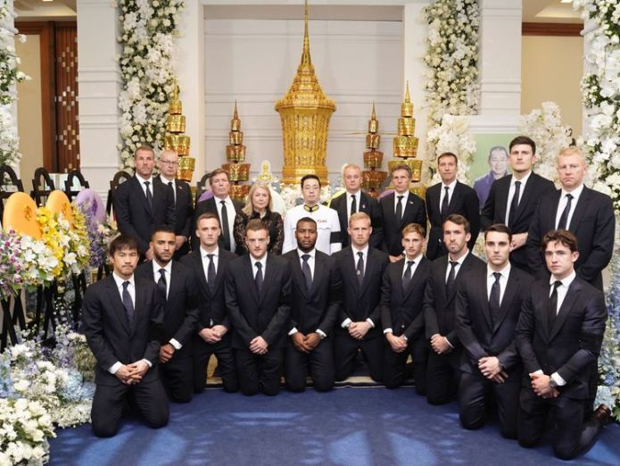 Leicester City players and staff with Vichai Srivaddhanaprabha's son Aiyawatt  Leicester City owner to get statue outside King Power Stadium after fatal helicopter crash skynews leicester funeral 4476043