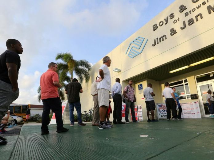 Voters line up to vote as polls opened in the U.S. midterm congressional and gubernatorial elections in Deerfield Beach, Florida  Recounts for Florida governor and senate races skynews midterm elections florida 4477802