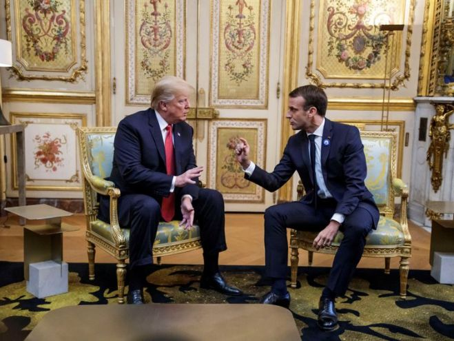 Presidents Trump and Macron at the Elysees Palace in Paris