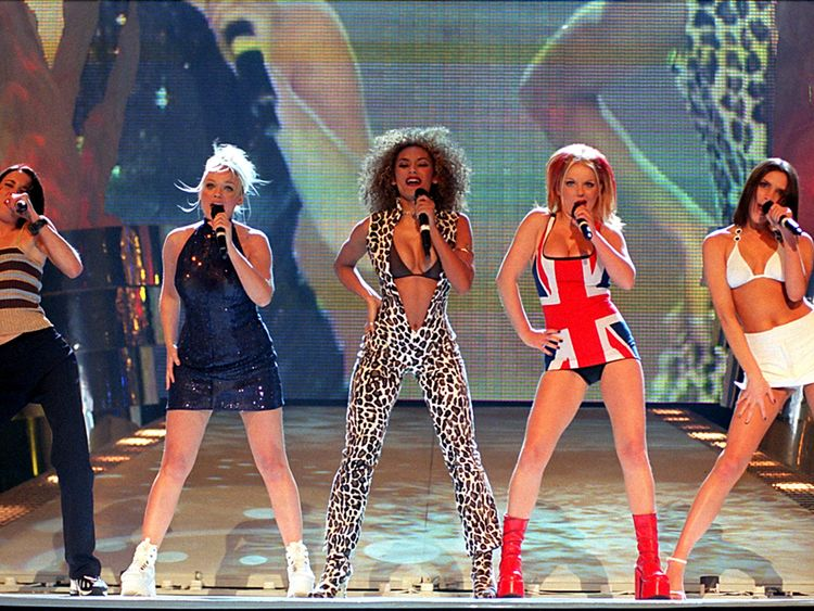 Library file, dated 24/2/97. The Spice Girls perform on stage at the Brit Awards ceremony: EMI Group, the music company which numbers The Beatles and The Spice Girls among its artists, confirmed today (Thursday) that it had received an approach over a possible offer for the company. See PA story CITY EMI. Photo by Fiona Hanson/PA