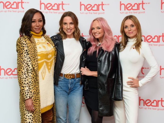 Spice Girls Mel B, Geri Horner, Emma Bunton and Melanie Chisholm appear together for first time since comeback announcement.   Extra dates announced after fans' frustration over tickets skynews spice girls heart 4478985