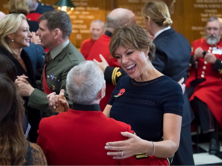 **STRICTLY EMBARGOED UNTIL 00:01 SATURDAY 10 NOV 2018** Kate Silverton, dancing with a Chelsea Pensioner at the Royal Hospital Chelsea.