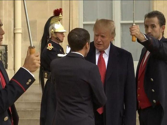 Donald Trump arrives in Paris to meet Emmanuel Macron  Trump cancels Armistice cemetery visit 'due to bad weather' skynews trump macron armistice 4482346