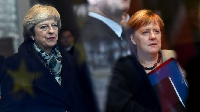 Theresa May and German Chancellor Angela Merkel arrive at the chancellery in Berlin