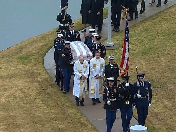 The former president has been laid to rest in the grounds of his library in Texas