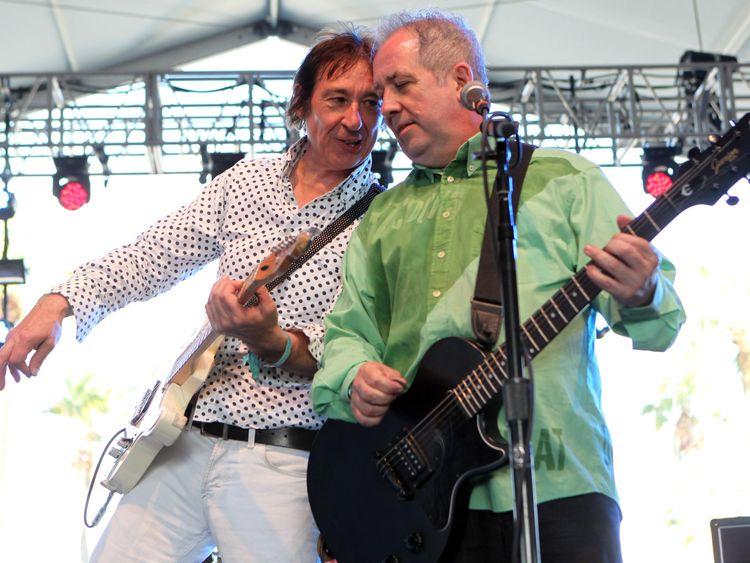 Steve Diggle (L) and Pete Shelley performing at Coachella festival, California, in 2012